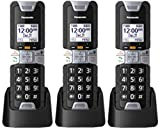 Panasonic KX-TGTA61B DECT 6.0 Additional Digital Cordless Rugged Handset with Link2Cell (3 Pack)
