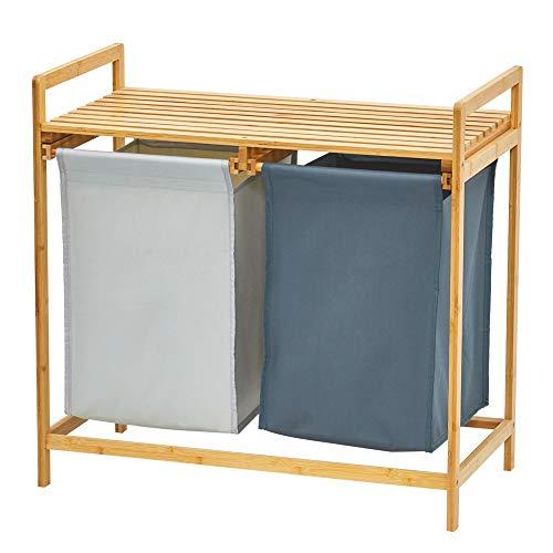WORTHYEAH Bambus Wäschekorb und Regal, Dual Fächer Wäschekorb mit abnehmbarem Beutel, 2 Abschnitte Wäschesortierer und Aufbewahrung, Holz Bambus Wäschesortierer