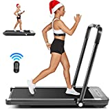FUNMILY 2 in 1 Under Desk Folding Treadmill, 2.25HP Walking Jogging Running Machine for Home/Office/Gym Fitness, Built-in 5 Workout Modes & 12 Programs, Installation-Free, Black (2021 New Model)