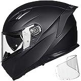 ILM Motorcycle Snowmobile Full Face Helmet Pinlock Insert Anti-fog Dual Visor Motocross ATV Casco for Men Women DOT ECE (Matte Black, XL)