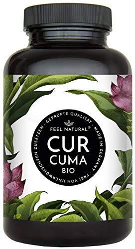 Bio Curcuma (Kurkuma) Kapseln - 240 Stück - 4500mg Bio Curcuma und schwarzer Pfeffer je Tagesdosis - Laborgeprüft. Ohne Magnesiumstearat. Vegan, hergestellt in Deutschland