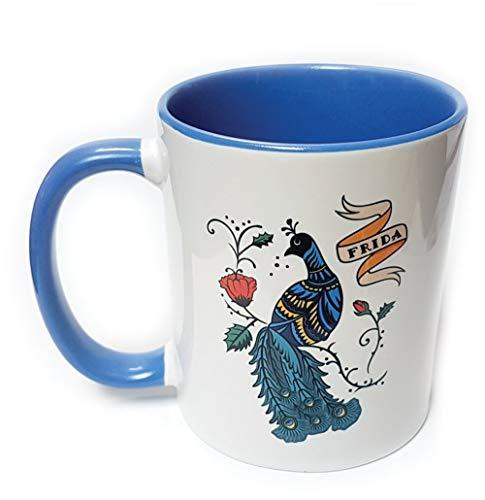 Custom Works - Taza azul Frida Kahlo Peacock