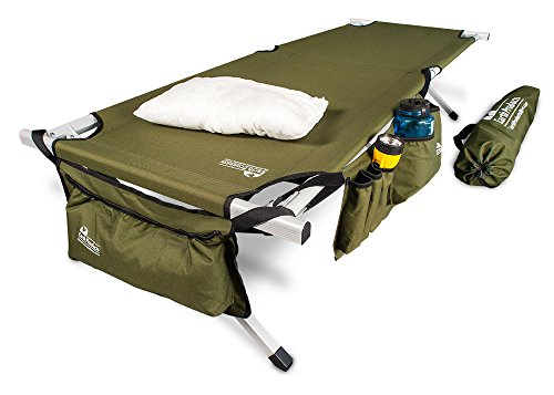 Earth Ultimate Extra Strong Military Style Folding Camp Cots Camping Cot w/Side Storage Bag System and Mini Pillow