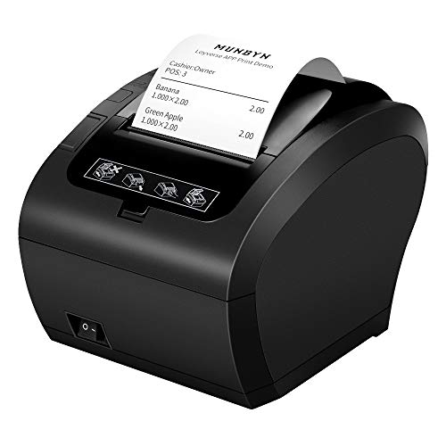 80mm Stampante termica 230 mm/sec Auto-Cut Supporto Cassetto MUNBYN Stampante per ricevute Diretta con USB Ethernet LAN Supporta Windows/Linux System/ESC/POS