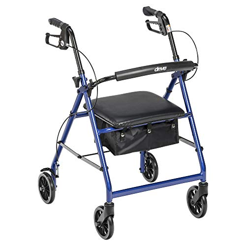 Drive Medical Aluminum Rollator Walker Fold Up and Removable Back Support, Padded Seat, 6' Wheels, Blue