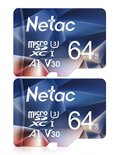 Netac 64G Scheda Micro SD Set da 2, Scheda di Memoria A1, U3, C10, V30, 4K, 667X, UHS-I velocit Fino...