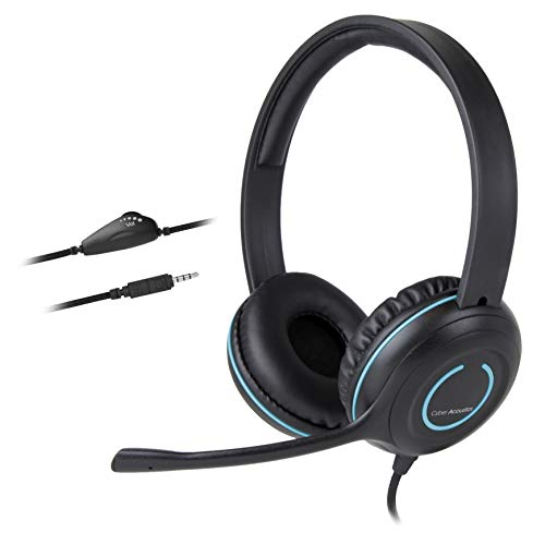 (20 Pack) Cyber Acoustics 3.5mm Stereo Headset with Headphones and Noise Cancelling Microphone for PCs, Tablets, and Cell Phones in The Office, Classroom or Home (AC-5002)