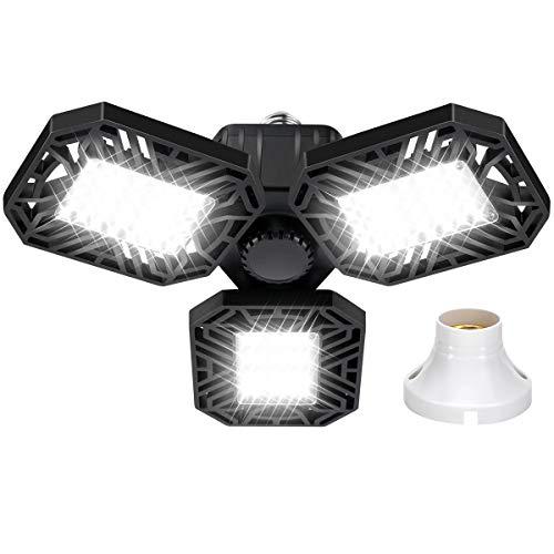 LED Garage Light, Aeegulle 8000 lumens Super Bright LED Workshop Light, 80W Garage Light with E26 Base, transformable Garage Light with 3 dimmable Panels, Warehouse, Workshop Ceiling Light