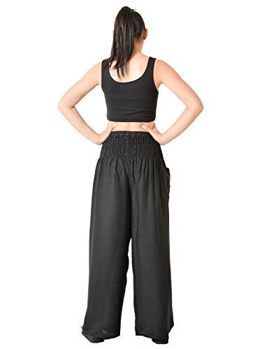 Orient Trail Women's Hippie Bohemian Boho Yoga Wide Leg Harem Pants X-Large Solid Black 7