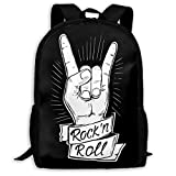 Deglogse Sac à Dos d'école, Cartable, Rock and Roll Unique Outdoor Shoulders Bag Fabric Backpack Multipurpose Daypacks for Adult Kids