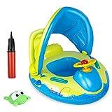joylink Baby Schwimmring, aufblasbarer Schwimmsitz Schwimmhife Spielzeug Baby Float mit Sonnenschutz und Pumpe, perfekt Schwimmtrainer für Kleinkender ab 12 bis 36 Monaten
