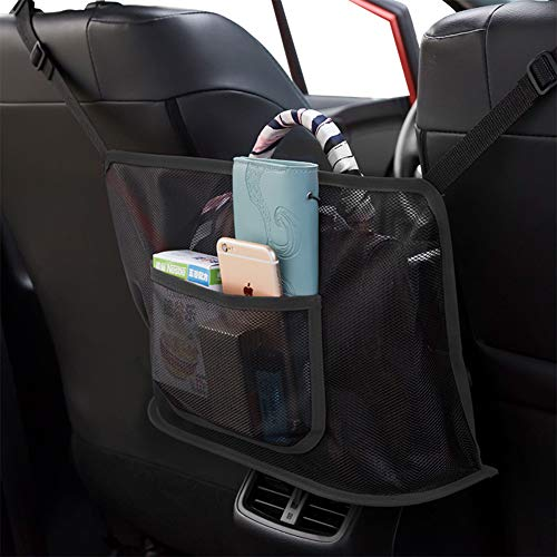 41oGBYTMj4L 【EXTRA STORAGE】- The Car Net Pocket Handbag Holder completely covers the gap between the front two seats and make them your extra storage. It can stretch to the perfect size based on different spaces between the driver and the passenger seats of various car models. 【PET BARRIER】- Adopted thickened polyester fiber with strong flexibility, It also serves as a special barrier that prevents naughty pets in the back seat from disturbing your daily drives. 【SAFE DRIVING】- Net Pocket Handbag Holder helps reduce distracted driving by providing easy access to your purse contents without taking your eyes off the road. It eliminates the need for inconvenient purse placement at your passenger's feet.
