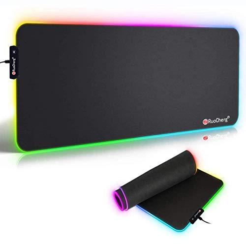 RuoCherg RGB Mauspad, 800 x 300 mm Gaming Mousepad mit 7 LED Farben 10 Beleuchtungs-Modi Mouse Pad Schreibtischunterlage Wasserdicht Anti Rutsch Matte für Computer PC Professionelle Gamer