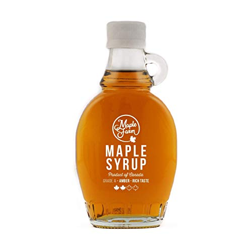 MapleFarm - Puro sciroppo d'acero Canadese Grado A (Amber, Rich taste) - Bottiglia 189 ml (250 g) -...
