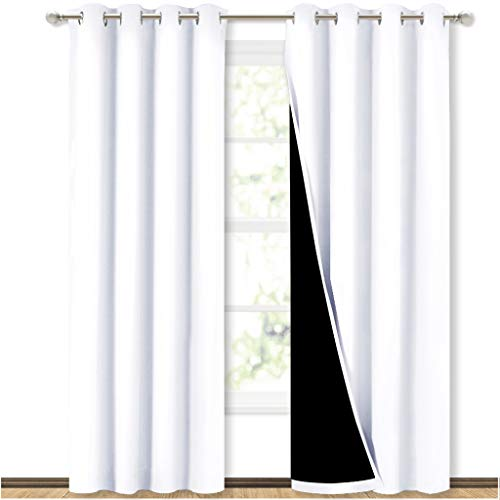 NICETOWN Full Shading Curtains for Windows, Super Heavy-Duty Black Lined Blackout Curtains for Bedroom, Privacy Assured Window Treatment (White, Pack of 2, 52 inches W x 95 inches L)
