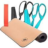 Minami Eco Cork Yoga Mat - Eco-Friendly 1 Cork Yoga Mat + 2 Carrier Strap Stretch Band + 1 Mini Loop Resistant Band - Non-Slip Yoga Mat,Sweat Resistance for Hot Yoga, Gymnastics, Aerobics- 72 x 24x5mm