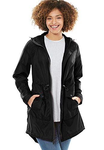 Woman Within Women's Plus Size Packable High-Low Raincoat - 22 W, Black