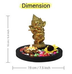 TIED-RIBBONS-Ganesha-Statue-Playing-Bansuri-with-with-Wooden-Flower-Tealight-Candle-Colorful-Stones-and-Wooden-Base-Ganesh-Idols-for-Home-Decor-Statue-Decoration-Items-for-Living-Room