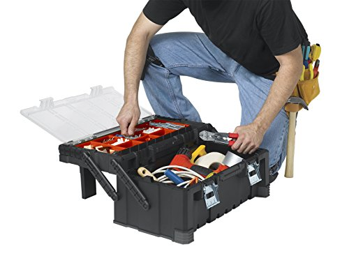 Product Image 13: KETER 22 Inch Cantilever Plastic Portable Tool Box Organizer with Metal Latches for Small Parts, Hardware and Tool Storage and Organization