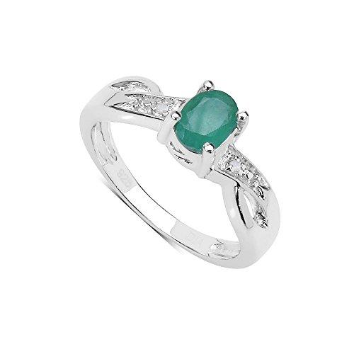 La Colección Anillo Diamantes: Anillo de Esmeralda en Plata de Ley y set Diamantes en los hombros, Perfecto para Regalo, anillo compromiso, aniversario, Talla anillo 21,5