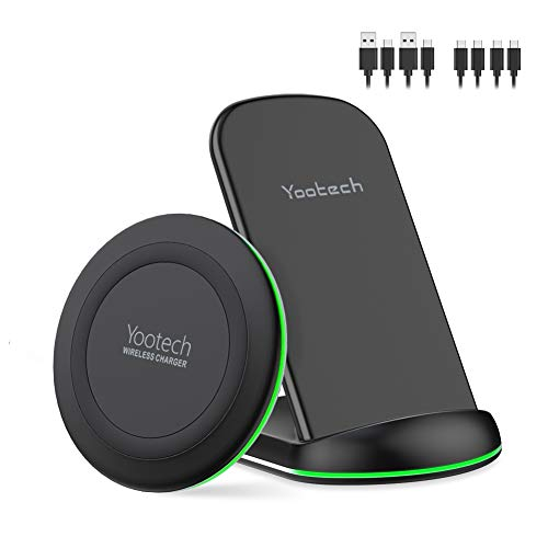 Yootech Wireless Charger, [2 Pack] Qi-Certified 10W Max Wireless Charging Pad Stand Bundle,Compatible with iPhone SE 2020/11/11Pro/11Pro Max/XR,Galaxy S20/Note 10/S10,AirPods Pro(No AC Adapter)