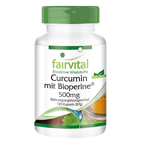 Curcumin Kapseln mit Bioperin 500mg, 120 Kapseln - VEGAN - Curcuma-Extrakt mit 95{4331881b0c79dac18788f0fa03338beae46fa9fe088565e86f17aa658c37b095} Curcuminoide