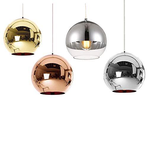 Huahan Haituo Hängeleuchte mit modernem Lampenschirm, Kupfer, verspiegelt, Kugel aus Chrom, mit Kabel von 120 cm, Durchmesser 15 cm, 20 cm oder 25 cm, E27, 40-100 watts (Silber, 20cm)