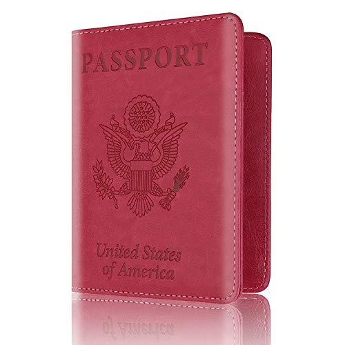 Custodia in pelle per passaporto, custodia protettiva per passaporto, Rosso rosato, 14.2*10.5*1cm, moda