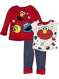 Sesame Street Baby Girls' 3 Piece Long Sleeve Fleece Top, T-Shirt & Pants Set, Red (12 Months)