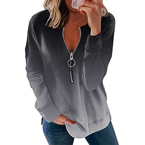 URIBAKY - Maglietta da donna a maniche lunghe, alla moda, elegante, a maniche lunghe, tunica, taglia grande, B-grey, S