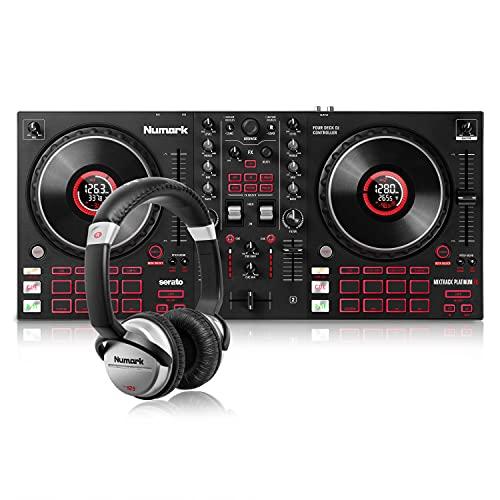 Numark Mixtrack Platinum FX + HF-125 - Console DJ con 4 Deck, Mixer DJ, Scheda Audio, Jog Wheel con Display, Effetti e Serato DJ Lite + Cuffie DJ con Filo