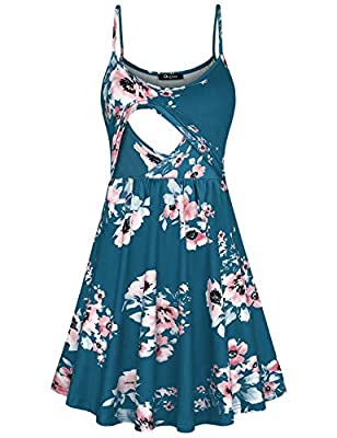 "BUST SIZE: [S] (US:6)-34.25"" [M] (US:8)-36.22"" [L] (US: 10-12)-38.19"" [X-L] (US: 14-16)-40.94"" STYLE:Floral Print / Round Neck / Spaghetti Strap / Two Handy Side Pockets /A Line / Empire Waist. Breastfeeding: It's lightweight and makes nursing in pub..."