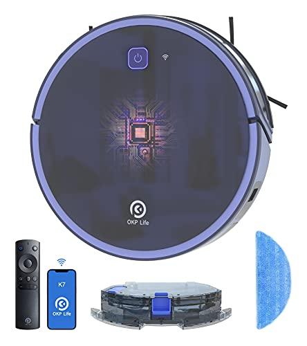 Aspirateur Robot, Aspirateur et Laveur de Sol 3 en 1, Super Aspiration 2200Pa, Débit d'Eau...