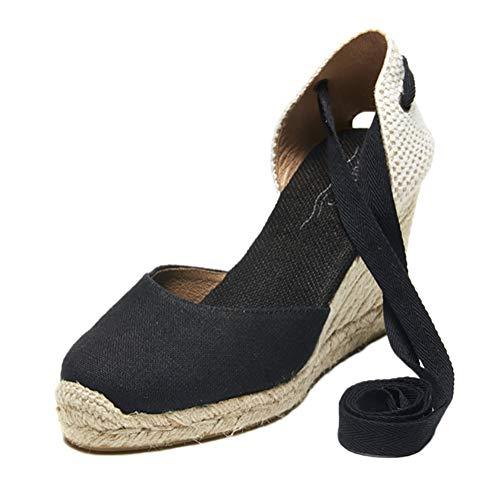 Tomwell Sandalias Mujer Cuña Alpargatas Moda Bohemias Romanas Sandals Rivet Playa Verano Tacon Zapatos A Negro 38 EU