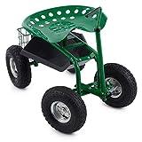 Waldbeck Park Ranger - Siège de jardin sur larges roues caoutchouc pour travaux de...