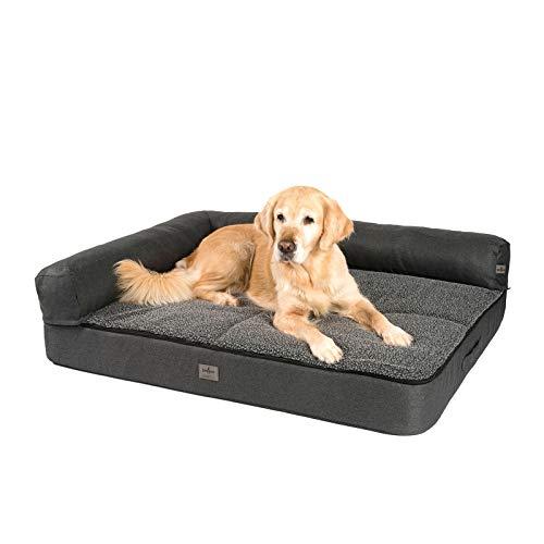 JAMAXX Premium divano 4 in 1 per cani  Divano ortopedico con schiuma Memory Visco, imbottitura rimovibile, extra spessa, lavabile, PDB3015 (L) 120 x 90 cm, antracite