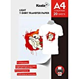KOALA Papiers Transferts T shirt/Textile Blancs ou Clairs - A4, 20 feuilles -...