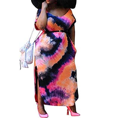 71%-80% polyester, tie dye fabric used for this plus size long dress; soft and comfortable to wear, lightweighted summer dress outfits for all day comfort Features of dress: colorblock tie dye printed, short sleeve, round neck, hi lo irregular hem st...
