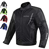 HI VIS MESH MOTORCYCLE JACKET FOR MENS RIDING BIKERS RACING DUAL SPORTS BIKE ARMORED PROTECTIVE…(BLACK, LARGE)