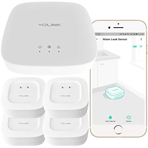Smart Leak Sensors, YoLink 1/4 Mile World's Longest Range Wireless Smart Water Leak Sensor Compatible with Alexa and IFTTT Leak Detector with App Alerts and Remote Monitor, 4 Pack, YoLink Hub Included