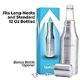 The Original Insul8 Beer Bottle Cooler | Double Wall Insulated Beer Bottle Holder Stainless Steel Fits 12 oz. Standard and Long-Neck Bottles | Bonus Bottle Opener Keyring and Gift Box