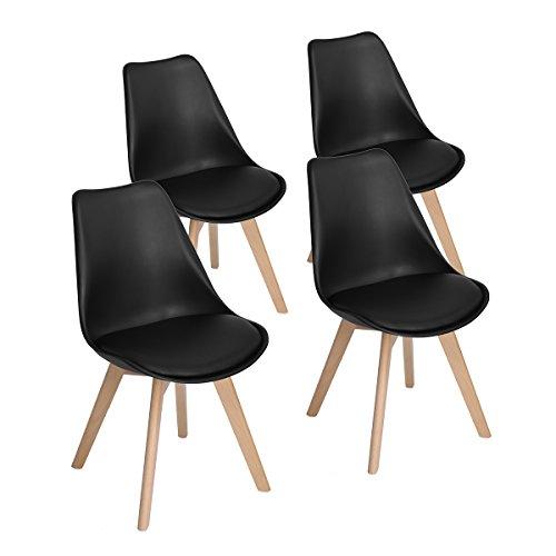EGGREE 4er Set Esszimmerstühle mit Massivholz Buche Bein, Retro Design Gepolsterter lStuhl Küchenstuhl Holz, Schwarz