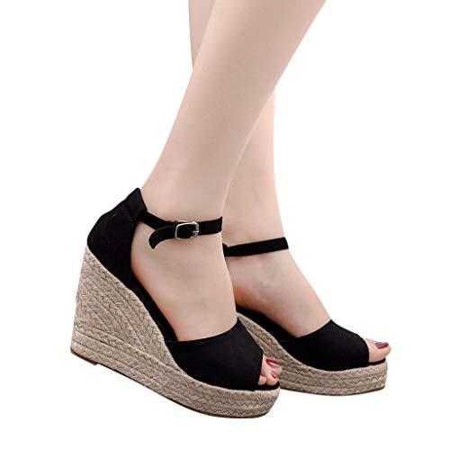 2019 Verano Sandalias Romanas Mujer, Zapato Peep-Toe Con Plataforma Cuña Alpargatas Zapatillas De Boda Fiesta Sandalias De Vestir De Talla Grande 33-44 EU(Negro, 33 EU)