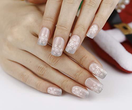 Artplus 24pcs Preglued Elegant Nude Christmas Nails 58716 Fake Press on Nails with Adhesive Long False Nails