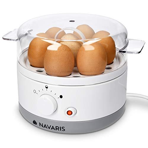 Navaris Cuociuova Elettrico per 1-7 Uova - Cuoci Uova Automatico 350W Multifunzione - per Uovo Sodo e alla Coque - Bollitore Fornello con Accessori