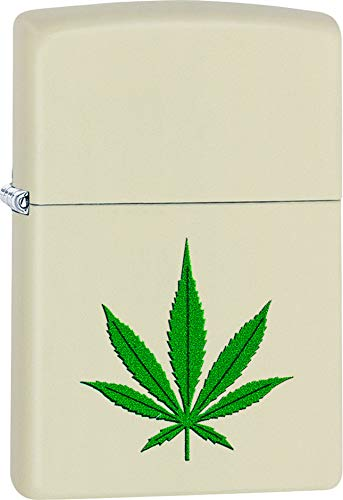 Marijuana Leaf Cannabis Zippo Lighter Cream Matte