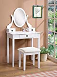 Roundhill Furniture Moniya Wood Makeup Vanity Table and Stool Set, White