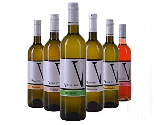 VIPAVA 1894 Pacchetto degustazione vini bianchi: Vini bianchi (Moscato giallo, Sauvignon, Chardonnay, Pinot grigio, Malvasia, Ros), Degustazione vini bianchi, Vino di qualit - ZGP (6x 0,75L)
