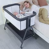 ANGELBLISS Baby Bassinet Bedside Crib with Storage Basket and Wheels, Easy Folding Bed Side Sleeper Adjustable Height Portable Crib for Newborn