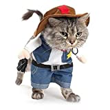 NACOCO Cowboy Dog Costume with Hat Dog Clothes Halloween Costumes for Cat and Small Dog (X-Small)